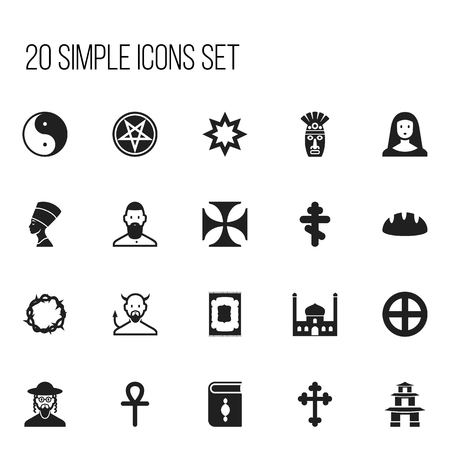 stupa: Set Of 20 Editable Religion Icons. Includes Symbols Such As Baphomet Symbol, Baguette, Satan And More