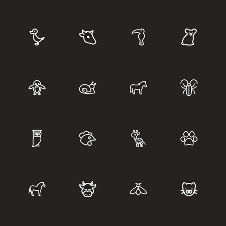 Set Of 16 Editable Animal Outline Icons. Includes Symbols Such As Quack, Dog Steps, Cattle And More