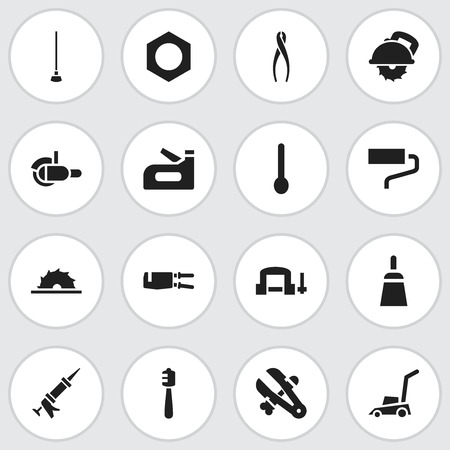 caulk: Set Of 16 Editable Tools Icons. Includes Symbols Such As Brush, Carpenter, Tongs And More