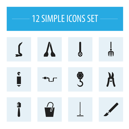 Set Of 12 Editable Instrument Icons. Includes Symbols Such As Balance, Handle , Jimmy