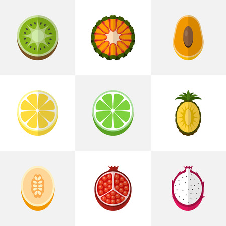 Set of 9 editable dessert flat icons. Illustration