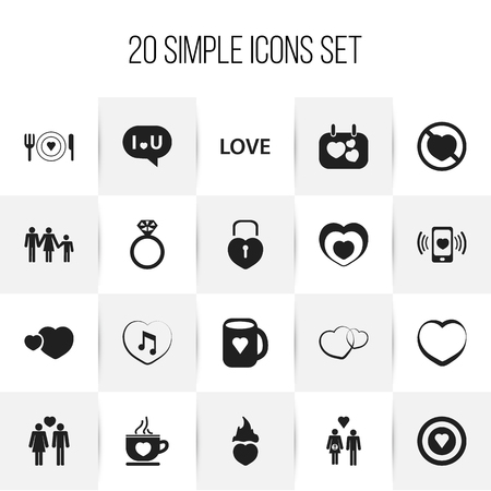 proclamation: Set Of 20 Editable Passion Icons. Includes Symbols Such As Family, Prohibit, Romantic And More