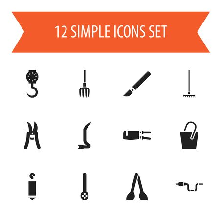 Set Of 12 Editable Tools Icons. Includes Symbols Such As Elevation, Skimmer, Balance And More
