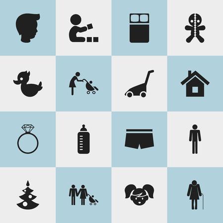 Set of 16 editable folks icons.