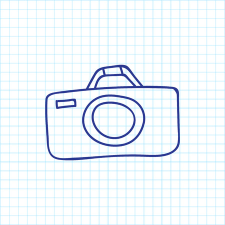 Vector Illustration Of Camping Symbol On Camera Doodle. Premium Quality Isolated Photographing Element In Trendy Flat Style.