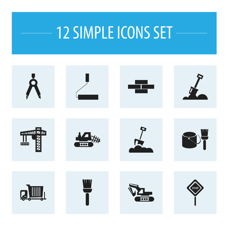 Set Of 12 Editable Structure Icons. Includes Symbols Such As Mop, Mule, Caution And More. Can Be Used For Web, Mobile, UI And Infographic Design.