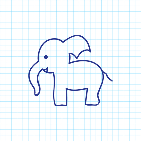 Vector Illustration Of Zoo Symbol On Trunked Animal Doodle