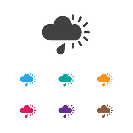 Vector Illustration Of Air Symbol On Rainy Cloud Icon