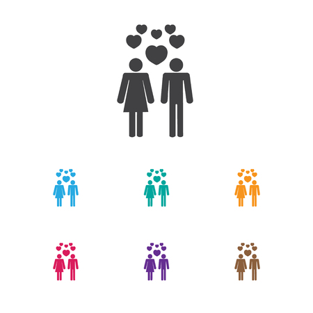 Couple with hearts icon. Stock Vector - 84288711