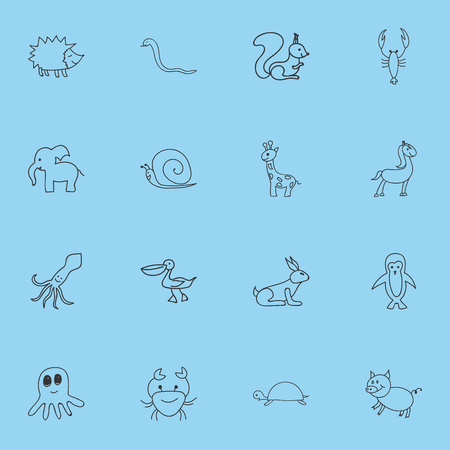 Set of 16 editable animal doodles icons.