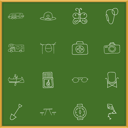 Set of 16 editable travel doodles icons. Illustration