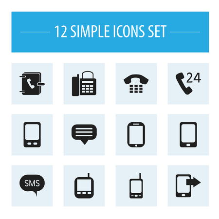 Set Of 12 editable gadget icons, includes symbols such as mobile, message, smartphone and more which can be used for web, mobile, and infographic design. Ilustração