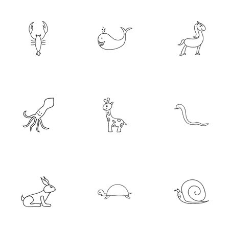 mucous: Set Of 9 Editable Zoology Doodles. Includes Symbols Such As Tortoise, Pony, Lobster And More