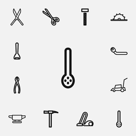 heavy: Set Of 12 editable equipment outline icons includes symbols such as circle spanner, shear, garden scissors and more which can be used for web, mobile, and infographic design.