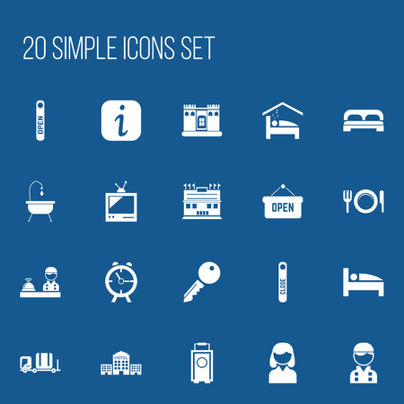 unblock: Set Of 20 Editable Motel Icons. Includes Symbols Such As Unblock Access, Townhouse, Open Sign And More. Can Be Used For Web, Mobile, UI And Infographic Design.