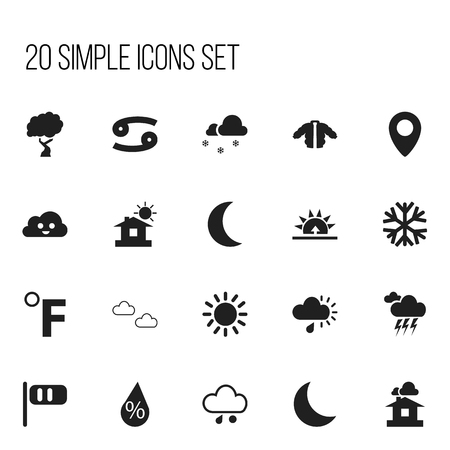 Set Of 20 Editable Air Icons. Includes Symbols Such As Night, Happy Overcast, Crab And More. Can Be Used For Web, Mobile, UI And Infographic Design. Illustration