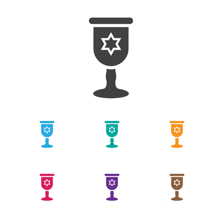 Vector Illustration Of Dyne Symbol On Cup With David Star Icon. Premium Quality Isolated Wineglass  Element In Trendy Flat Style.