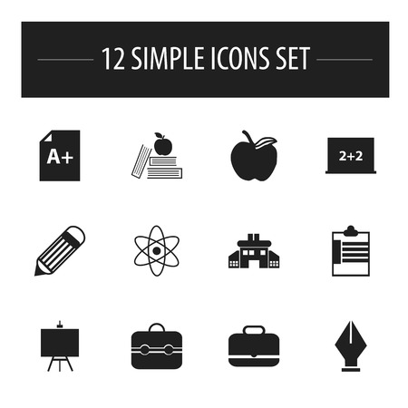 nib: Set Of 12 Editable School Icons. Includes Symbols Such As Supervision List, Kindergarten, Trunk And More. Can Be Used For Web, Mobile, UI And Infographic Design.