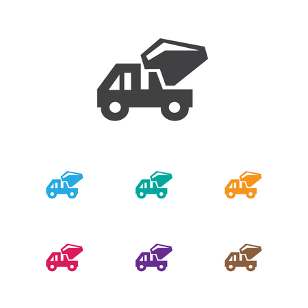 camion: Vector Illustration Of Construction Symbol On Mixer Concrete Icon. Premium Quality Isolated Industrial Transport Element In Trendy Flat Style.