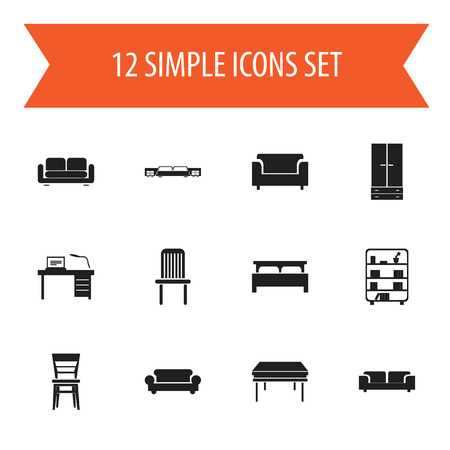 Set Of 12 Editable Furnishings Icons. Includes Symbols Such As Seat, Trestle, Davenport And More. Can Be Used For Web, Mobile, UI And Infographic Design.