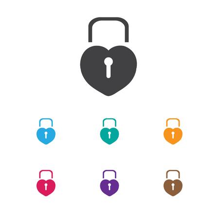 愛の南京錠のアイコンをシンボルのベクター イラストです。プレミアム品質の分離は、トレンディなフラット スタイルの中心要素をロックされてい  イラスト・ベクター素材