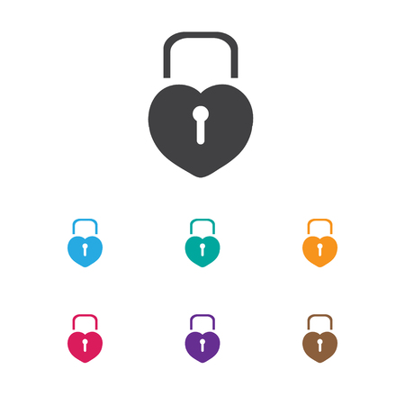 Vector Illustration Of Love Symbol On Padlock Icon. Premium Quality Isolated Locked Heart Element In Trendy Flat Style. Illustration