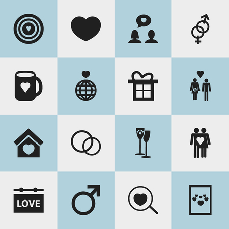 Set Of 16 Editable Love Icons. Includes Symbols Such As World, Family, Gift And More. Can Be Used For Web, Mobile, UI And Infographic Design.