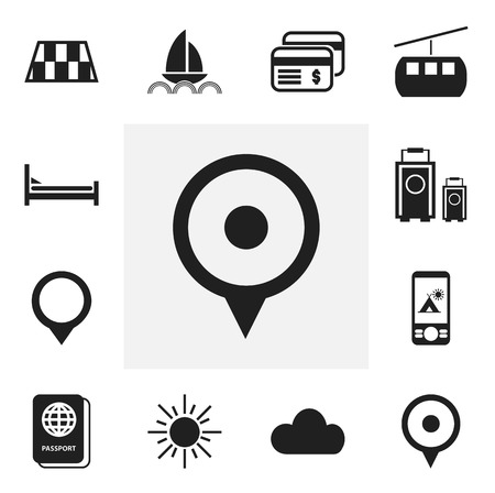 Set Of 12 Editable Journey Icons. Includes Symbols Such As Yacht, Location, Overcast And More. Can Be Used For Web, Mobile, UI And Infographic Design.