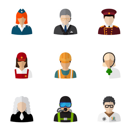 dispatcher: Set Of 9 Editable Profession Flat Icons. Includes Symbols Such As Doorman, Stewardess, Servant And More. Can Be Used For Web, Mobile, UI And Infographic Design. Illustration