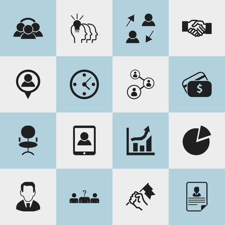 Set Of 16 Editable Job Icons. Includes Symbols Such As Staff Structure, Payment, Rally And More. Can Be Used For Web, Mobile, UI And Infographic Design.