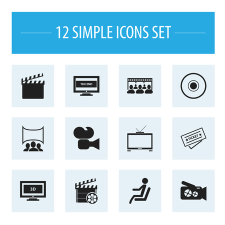 film industry: Set Of 12 Editable Filming Icons. Includes Symbols Such As Widescreen, Seat, Hd Television And More. Can Be Used For Web, Mobile, UI And Infographic Design.