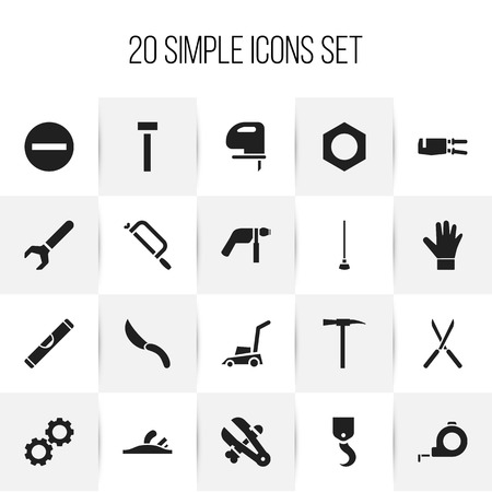 secateurs: Set Of 20 Editable Equipment Icons. Includes Symbols Such As Scale, Drill, Grass Cutting Machine And More. Can Be Used For Web, Mobile, UI And Infographic Design. Illustration