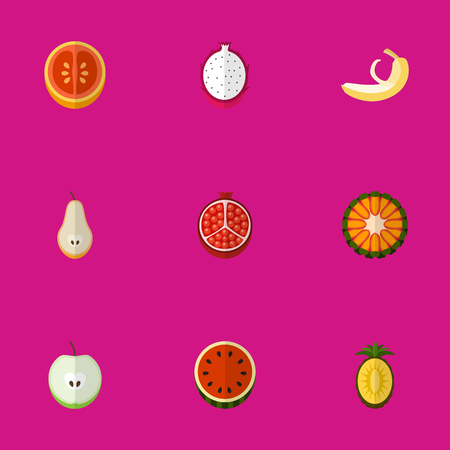 Set Of 9 Editable Berry Flat Icons. Includes Symbols Such As Jungle Fruit, Orange, Ananas And More. Can Be Used For Web, Mobile, UI And Infographic Design.