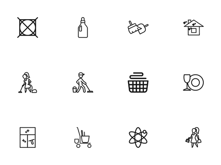 Set Of 12 Editable Cleanup Outline Icons. Includes Symbols Such As Trolley, Cleaning Window, Clean House And More. Can Be Used For Web, Mobile, UI And Infographic Design. Illustration
