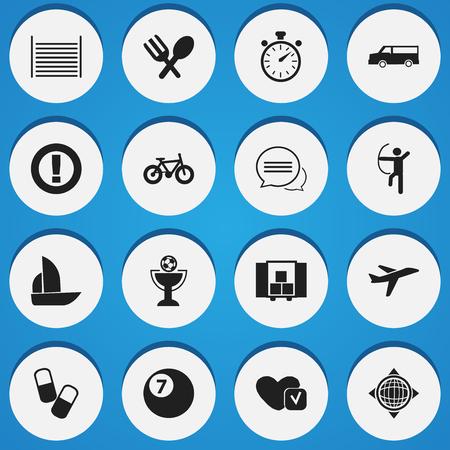 Set van 16 bewerkbare ingewikkelde pictogrammen. Bevat symbolen zoals vliegtuigen, fiets, blanco en meer. Kan worden gebruikt voor Web, Mobile, UI en Infographic Design.