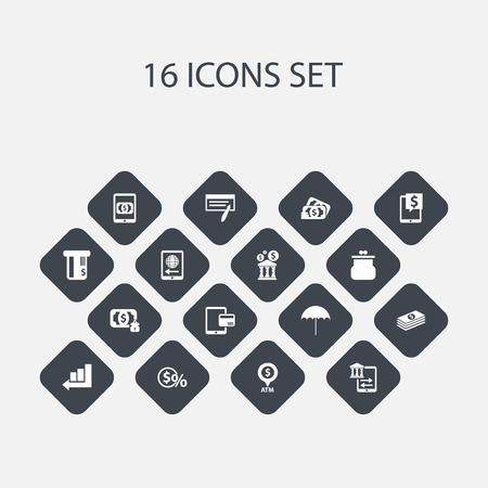 Set Of 16 Editable Investment Icons. Includes Symbols Such As Bill, Salary, Transfer And More. Can Be Used For Web, Mobile, UI And Infographic Design. Ilustração