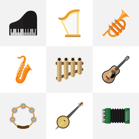 Set Of 9 Editable Sound Flat Icons. Includes Symbols Such As Zither, Accordion, Tuba And More. Can Be Used For Web, Mobile, UI And Infographic Design.