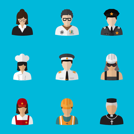 Set Of 9 Editable Profession Flat Icons. Includes Symbols Such As Lecturer, Servant, Officer And More. Can Be Used For Web, Mobile, UI And Infographic Design. Illustration
