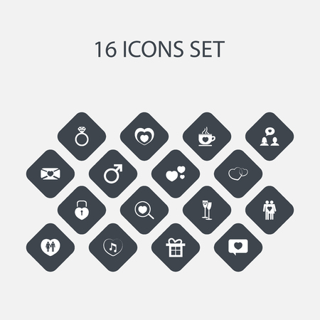 Set Of 16 Editable Heart Icons. Includes Symbols Such As Heartbeat, Couple, Music And More. Can Be Used For Web, Mobile, UI And Infographic Design.