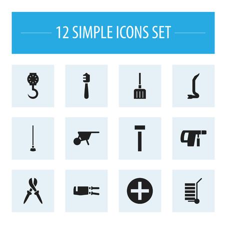 12 編集機器のアイコンのセットです。ペンチ、バランス、掘りなどの記号が含まれています。Web、モバイル、UI、インフォ グラフィック デザインに