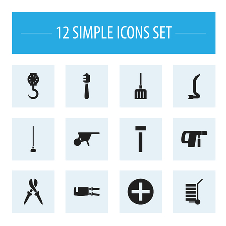 Set Of 12 Editable Equipment Icons. Includes Symbols Such As Pliers, Balance, Digging And More. Can Be Used For Web, Mobile, UI And Infographic Design.