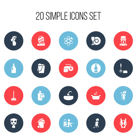 Set Of 20 Editable Hygiene Icons. Includes Symbols Such As Respirator, Laundry Detergent, Bleach And More. Can Be Used For Web, Mobile, UI And Infographic Design.