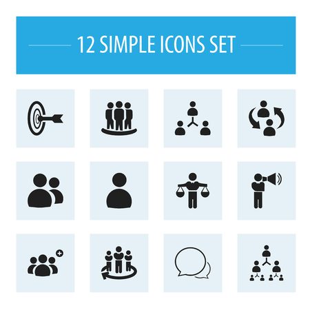 Set Of 12 Editable Community Icons. Includes Symbols Such As Corporate, Conversation, Command. Can Be Used For Web, Mobile, UI And Infographic Design.