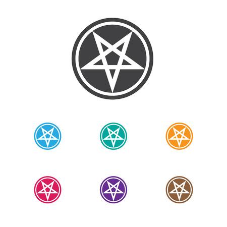 Vector Illustration Of Dyne Symbol On Pentagram Icon. Premium Quality Isolated Baphomet Symbol Element In Trendy Flat Style.