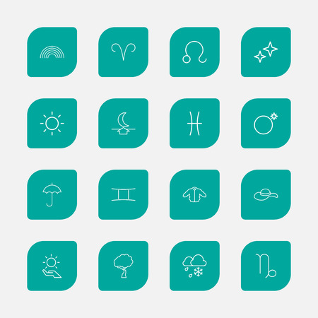 16 편집 가능한 기후 개요 아이콘의 집합입니다. 크랩 (Crab), 별표 (Asterisk), 팜의 태양열 등의 기호가 포함되어 있습니다. 웹, 모바일, UI 및 인포 그래픽