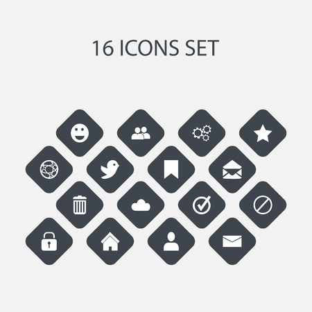 wap: Set Of 16 Editable Internet Icons. Includes Symbols Such As Group, Gear, Recycle Bin And More. Can Be Used For Web, Mobile, UI And Infographic Design.