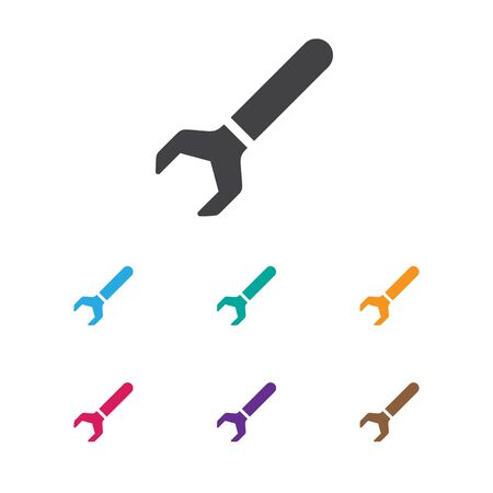 Vector Illustration Of Instrument Symbol On Wrench Icon. Premium Quality Isolated Screw Wrench Element In Trendy Flat Style. Illustration