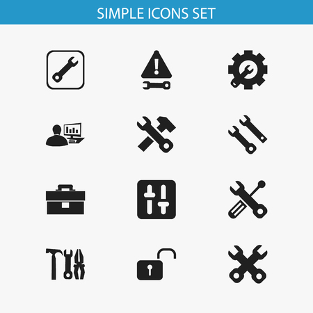 parameters: Set Of 12 Editable Service Icons. Includes Symbols Such As Spanner, Computer Statistics, Equalizer And More. Can Be Used For Web, Mobile, UI And Infographic Design. Illustration
