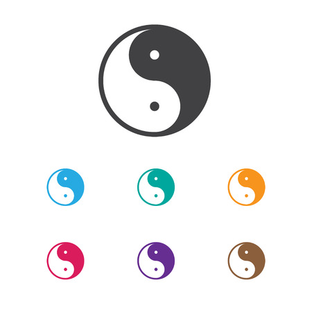 Vector Illustration Of Faith Symbol On Ying Yang Icon. Premium Quality Isolated Taoism Element In Trendy Flat Style.