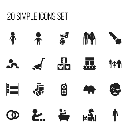 veranda: Set Of 20 Editable Family Icons. Includes Symbols Such As Telephone, Father, Family And More. Can Be Used For Web, Mobile, UI And Infographic Design. Illustration